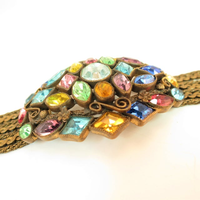 1920s Czech Art Deco Jewel-Tone Bohemian Crystal & Chains Bracelet 1920s For Sale - Image 5 of 13
