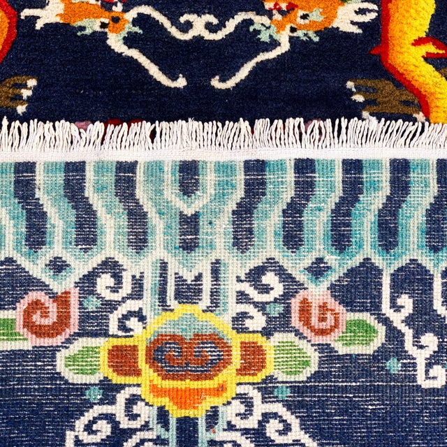 Vintage Chinese Hand Knotted Rugs - A Pair For Sale - Image 9 of 11