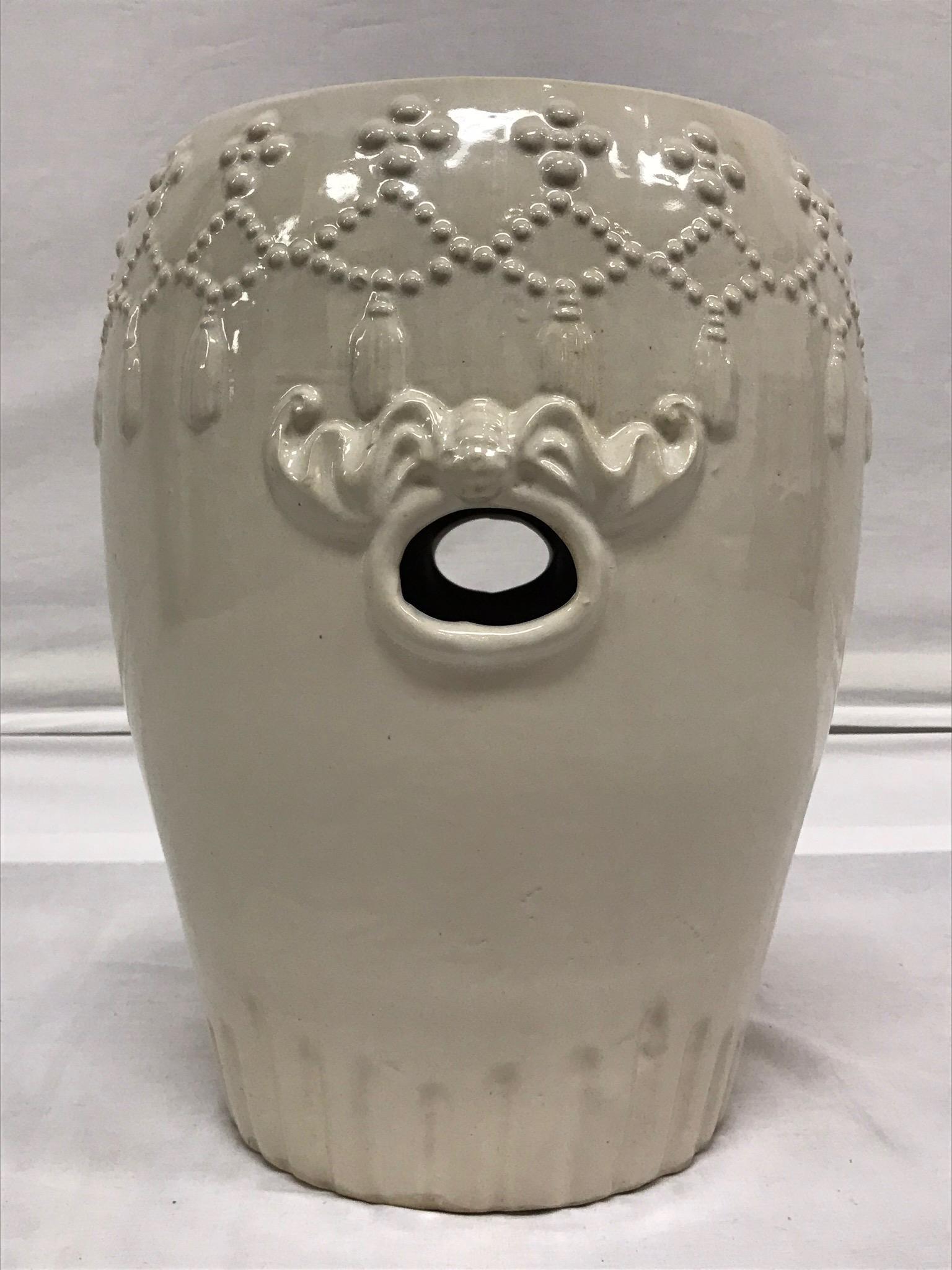 White Ceramic Asian Garden Stool   Image 6 Of 10