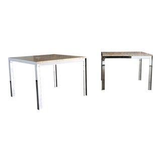 1965 Mid-Century Modern Pace Collection Chrome & Travertine Side Tables- a Pair For Sale