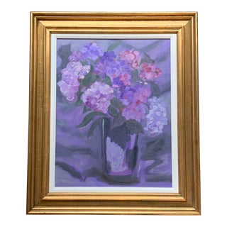 Original Purple Floral Painting in Beautiful Vintage Frame For Sale