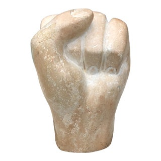 1960s Vintage Contemporary Carved Stone Human Hand Sculpture For Sale