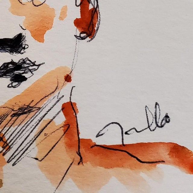 Jose Trujillo Original Portrait Expressionist Watercolor Painting Signed For Sale - Image 4 of 4