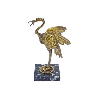 Antique Bronze Flamingo Pocket Watch Holder For Sale