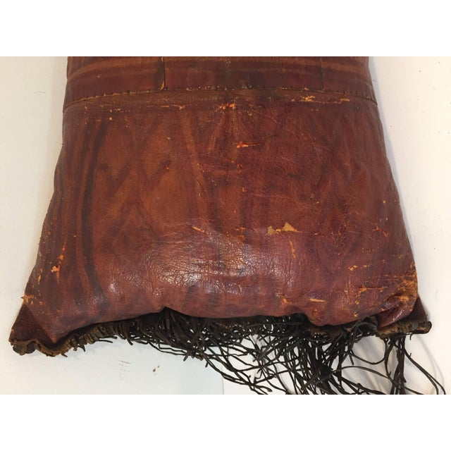 Mid 20th Century African Tuareg Leather Pillow With Fringes For Sale - Image 5 of 10