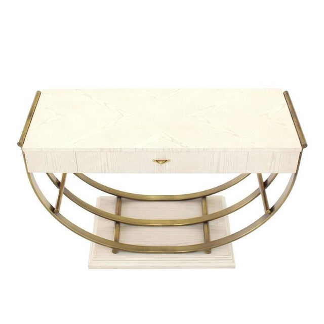 White Pickled Oak Finish Brass U-Shape Base Console Table For Sale In New York - Image 6 of 9