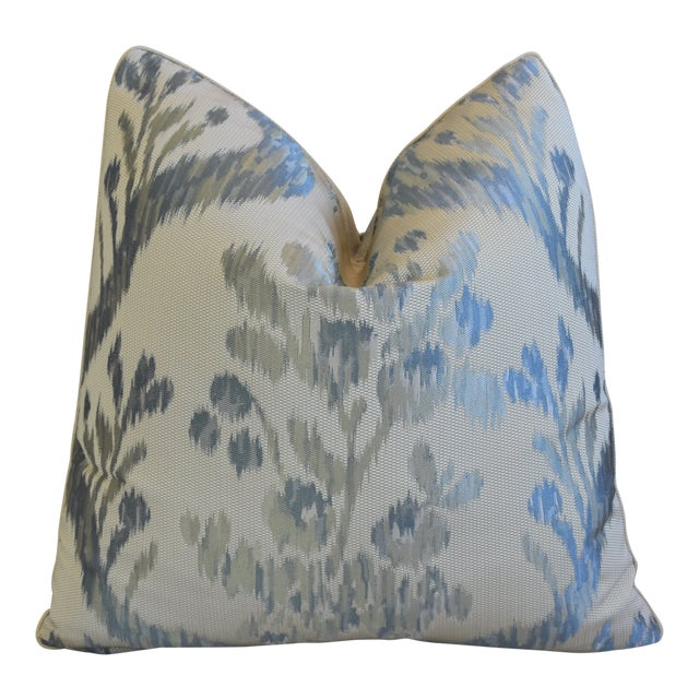 "Old World Weavers Jacquard Silk Feather/Down Pillow 21"" Square For Sale"