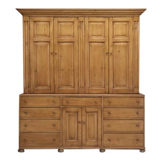 English Scrubbed Pine Housekeepers Cabinet For Sale