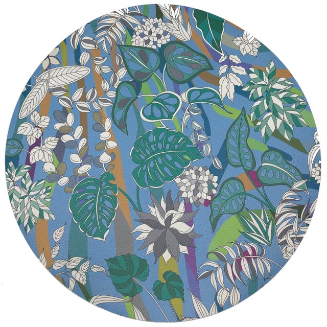 """African Nicolette Mayer Sabi Jungle Savuti 16"""" Round Pebble Placemats, Set of 4 For Sale - Image 3 of 3"""