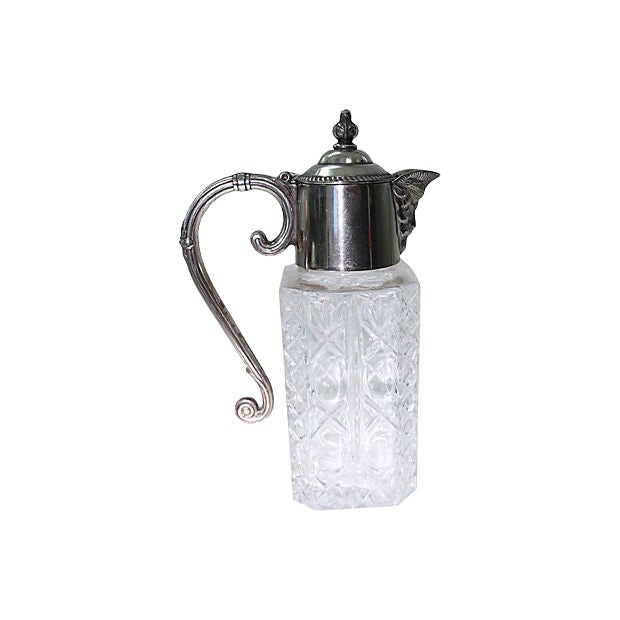 Heavy Crystal & Silver-Plate Decanter For Sale