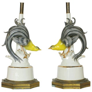 Mid-Century Ceramic Greater Bird of Paradise Table Lamps, Pair For Sale