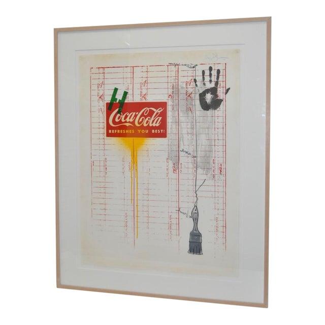 "Circa 1971 ""Coca Cola"" Signed Color Lithograph By Jasper Johns For Sale"