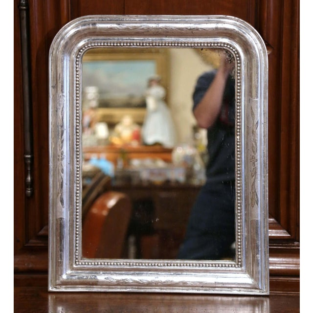 Silver 19th Century French Louis Philippe Silver Mirror With Engraved Floral Decor For Sale - Image 8 of 8