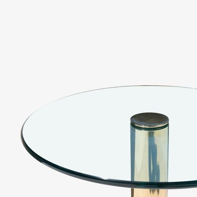 Contemporary Accent Tables in Travertine & Brass by Pace Collection, Pair For Sale - Image 3 of 5