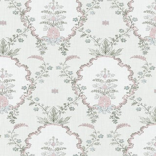 "Lewis & Wood Vallance Myrtle Pink Extra Wide 52"" Damask Style Wallpaper Sample For Sale"