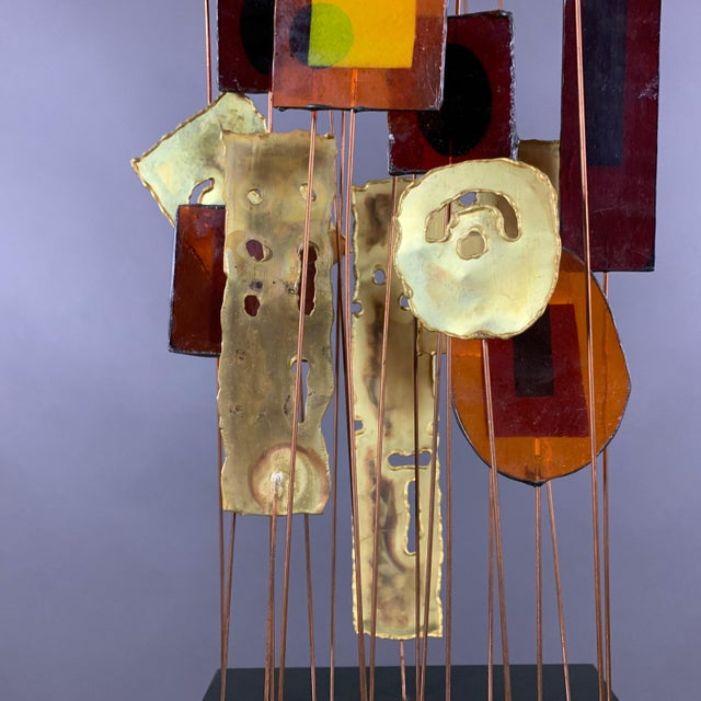 """Mid-Century Modern 1950s C. Jere Fused Glass & Metal Kinetic 53"""" Sculpture For Sale - Image 3 of 11"""