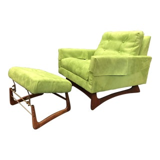 Adrian Pearsall Avocado Green Lounge Chair & Ottoman
