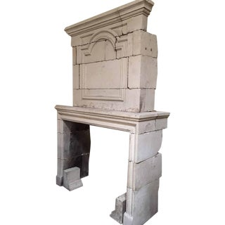 Louis XIV Limestone Mantel with Trumeau, circa 1810