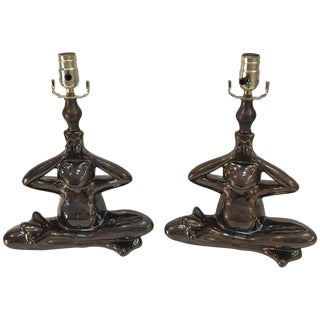 """Yogi"" Seated Frog Lamps - a Pair"
