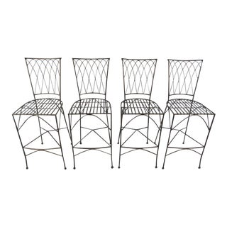 Industrial Modern Sculpted Iron Stools - Set of 4 For Sale