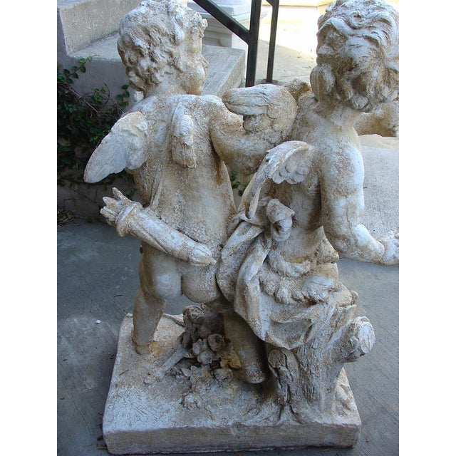 Cast Stone Cupids Statue From France For Sale In Dallas - Image 6 of 10