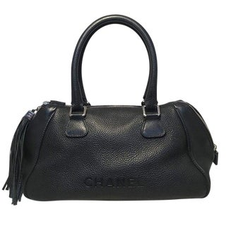 Chanel Black Leather Zip and Tassel Pull Tote Bag For Sale