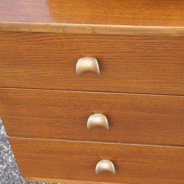 Mid Century Modern Oak Vanity and Chair - 2 Pieces For Sale In Houston - Image 6 of 11