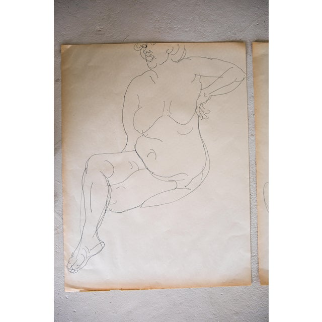Original Large Scale Mid-Century Triptych of Nudes - Set of 3 - Image 4 of 9