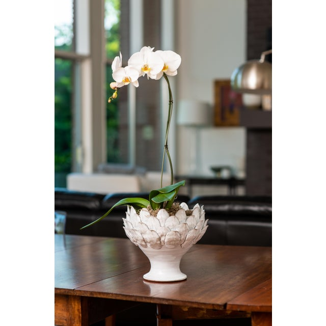 Contemporary White Artichoke Footed Centerpiece, Large For Sale - Image 3 of 4