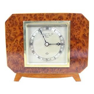 English Deco Burl Walnut Clock For Sale