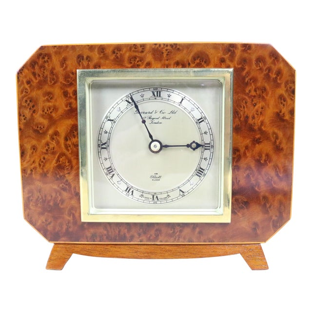 English Deco Burl Walnut Clock For Sale