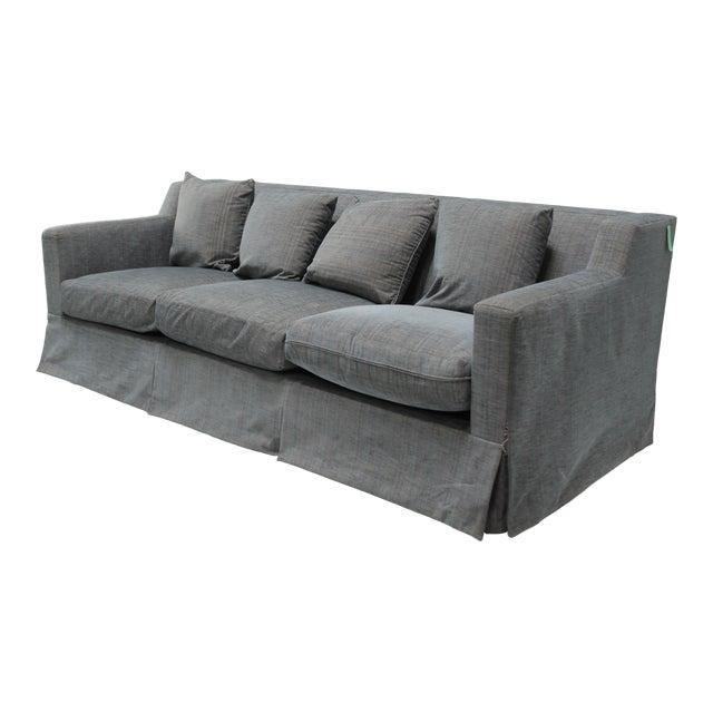 Contemporary Blue Linen Sofa