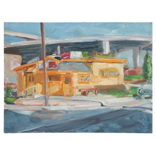 """Jack Freeman """"Walt's Diner"""" Bay Area Cityscape Oil Painting, 1989 1989 For Sale"""