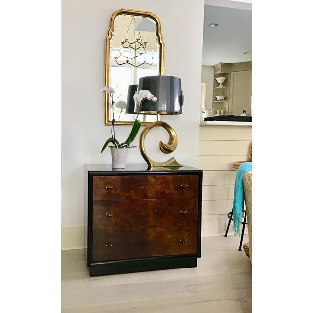 Three drawer dresser by Henredon from the Scene Three collection, featuring a modern take on Art Deco design. Smooth black...