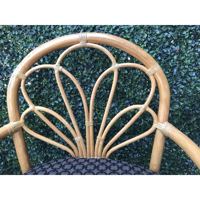 1970's Vintage Bent Bamboo Dining Upholstered Chairs - Set of 4 For Sale - Image 4 of 11