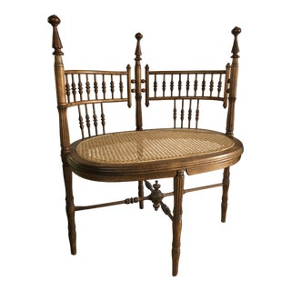 Antique Victorian Stick and Ball Double Seat Settee Bench For Sale