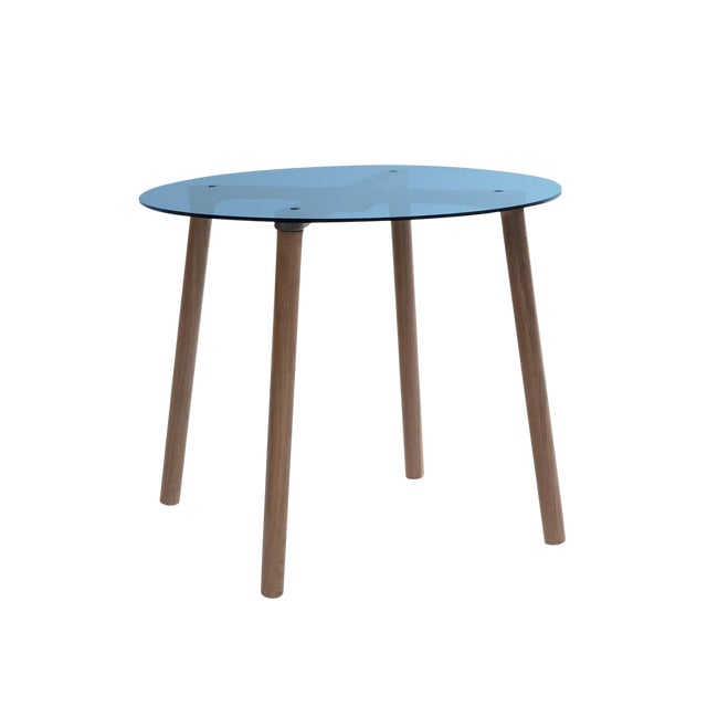 """Ac/Bc Small Round 23.5"""" Kids Table in Walnut With Blue Acrylic Top For Sale"""