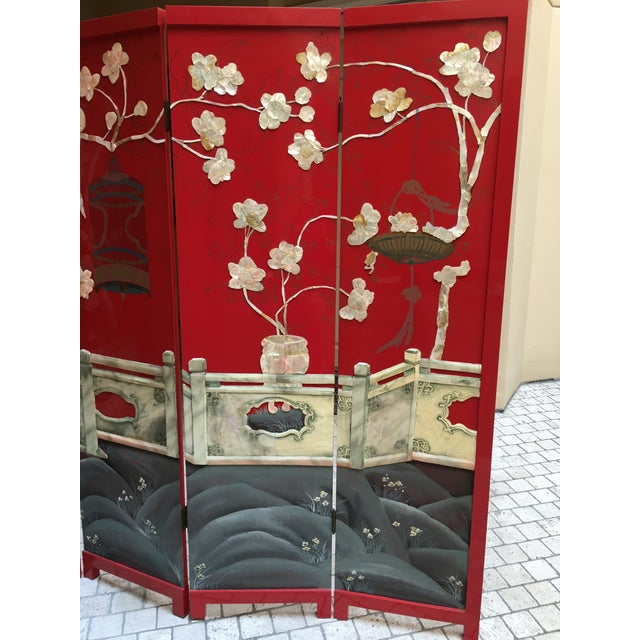 Vintage Red Lacquered Chinese Screen - Image 8 of 11