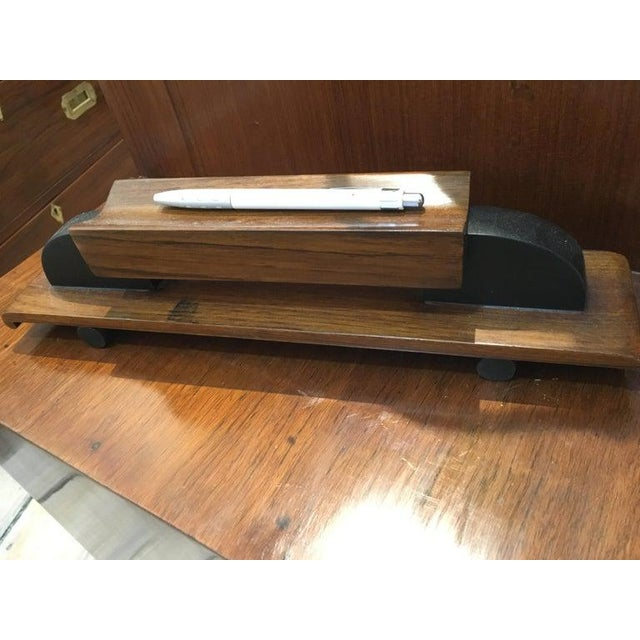 Mid-Century Modern Teak Desk With Ebonized Accents For Sale - Image 9 of 10