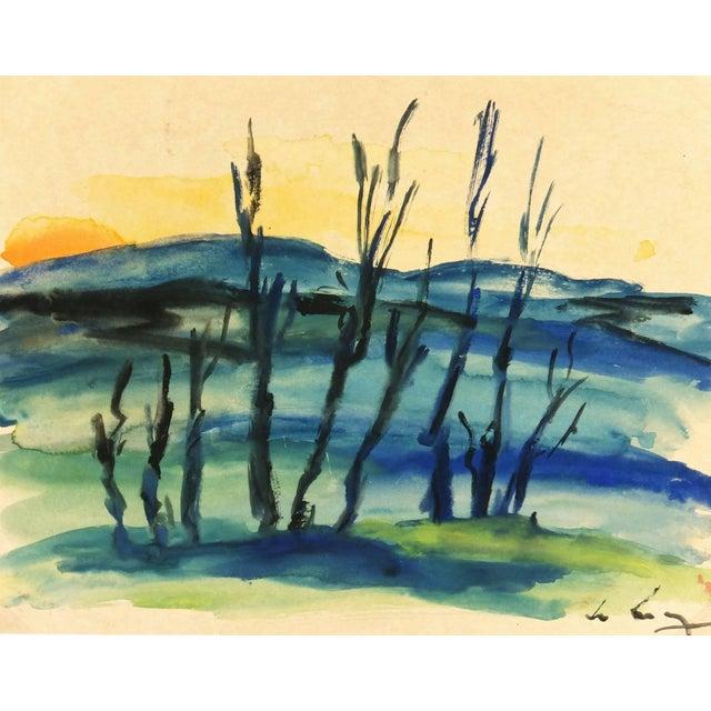 1980s Watercolor Landscape - Setting Sun For Sale - Image 5 of 5