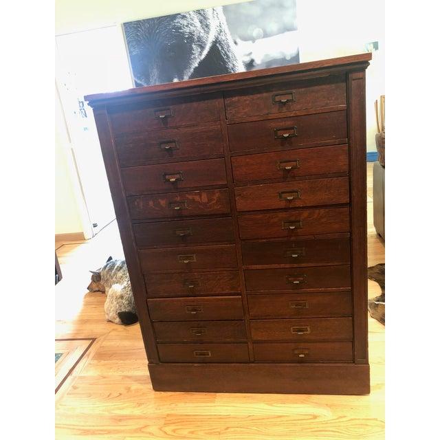 Antique Oak San Francisco City Tax Filing Cabinet For Sale - Image 4 of 11