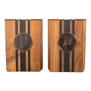 Monogrammed Walnut and Brass Bookends C.1960 - a Pair For Sale