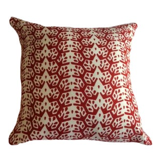 Sister Parish Cecil Stripe Red Pillow With Down Insert For Sale
