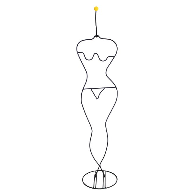 1980's Laurids Lonborg Danish Abstract Memphis Modernist Tubular Figural Woman Wrought Iron Wire Coat Rack For Sale