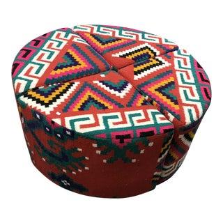 Tunisian Kilim Round Ottoman For Sale
