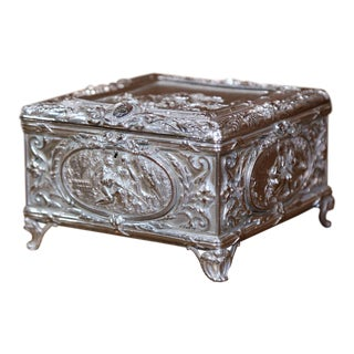 19th Century French Louis XVI Silver on Copper Ornate Repoussé Jewelry Casket For Sale