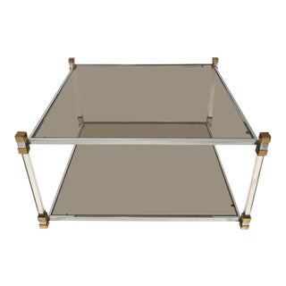 Mid-Century Modern Two-Tier Chrome, Lucite and Brass Coffee Table For Sale