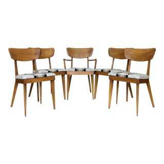 1950s Mid Century Modern Heywood Wakefield Chairs With Pendelton Fabric - Set of 5