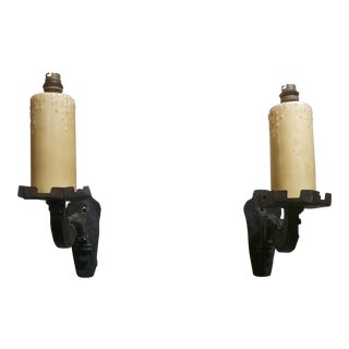 19th Century Spanish Gothic Cast Iron Wall Candle Sconces - A Pair For Sale