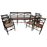 Image of American Hand-Painted Caned Furniture Bench and Chairs, Circa 1815 - Set of 7 For Sale